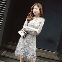 Cerulean - Long-Sleeve Furry Sheath Dress
