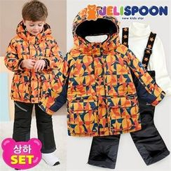 JELISPOON - Boys Set: Patterned Ski Coat + Suspender Pants