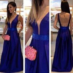 Katemi - Mesh-Panel Evening Gown