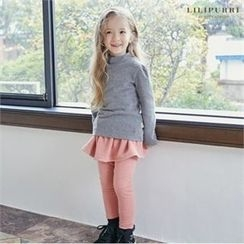 LILIPURRI - Girls Set: Mock-Neck Top + Inset Skirt Leggings