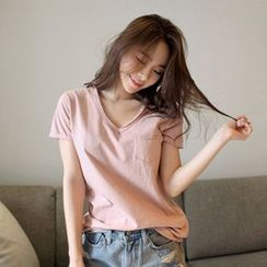 Silky Kiss - Short Sleeve V-Neck Plain T-Shirt