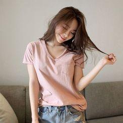 Silky Kiss - 短袖V領純色T恤