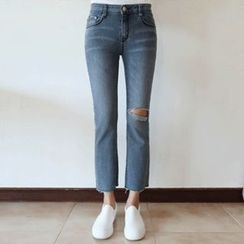 Hello sweety - Distressed Straight-Cut Jeans