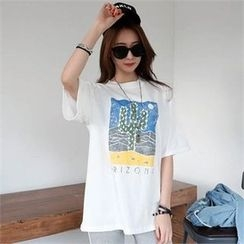 CHICFOX - Cactus Printed Round-Neck T-Shirt