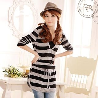 Drawstring-Waist Striped Hooded Dress