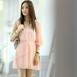 59 Seconds - One Sleeve Asymmetrical Chiffon Dress