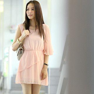 59 Seconds - One Sleeve Asymmetrical Chiffon Dress