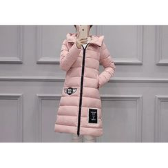 Dream Girl - Embroidered Hooded Long Padded Jacket