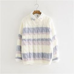 Storyland - Cable-Knit Striped Sweater