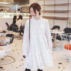 mimi&didi - Frill-Neck Lace Empire Dress