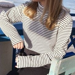 YUKISHU - Striped Mock Neck Long Sleeve T-Shirt