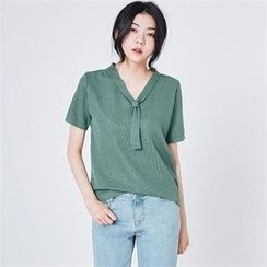 MAGJAY - Tie-Neck Knit Top