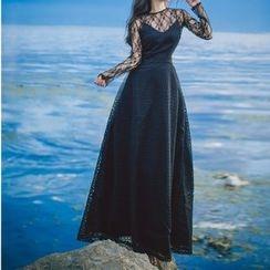 Romantica - Long-Sleeve Paneled A-Line Maxi Dress