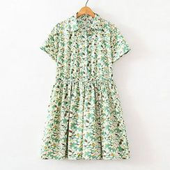 ninna nanna - Floral Print Short Sleeve Collared Dress