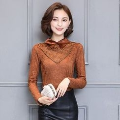 lilygirl - Long-Sleeve Collared Lace Top