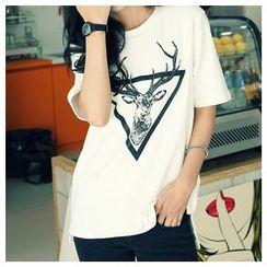 Renee - Deer Printed Short-Sleeve T-shirt