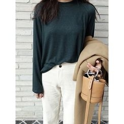 maybe-baby - Round-Neck Plain Top