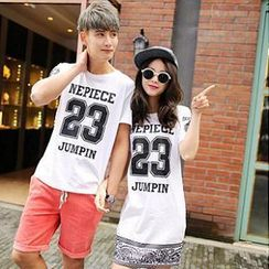 Evolu - Short-Sleeve Printed Couple T-Shirt