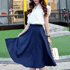 Ageha - 套装: 短袖雪纺衬衫 + 中长裙