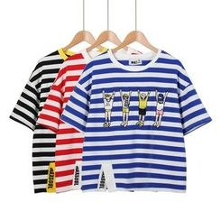 Momewear - Short-Sleeve Striped Embroidered Top
