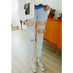 REDOPIN - Distressed Pinstripe Jeans
