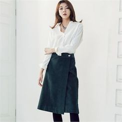 MAGJAY - Flap-Front Corduroy Skirt