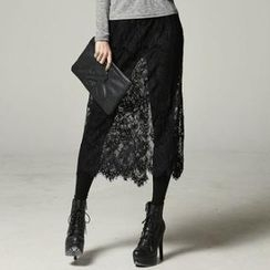 SARAH - Inset Long Lace-Skirt Leggings