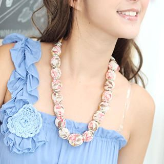 Chiffon Wrap Bead Necklace