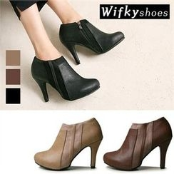 Wifky - Faux-Suede Trim Booties