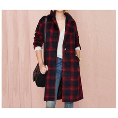 Richcoco - Plaid Snap-Button Coat