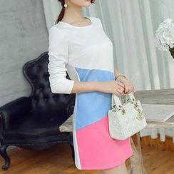 Q.C.T - Long-Sleeve Contrast Color A-Line Dress