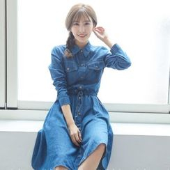 BAIMOMO - Long-Sleeve Drawcord Denim Shirtdress