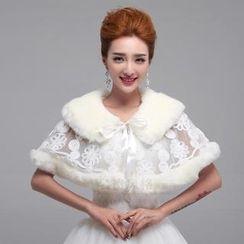 Luxury Style - Faux Fur Bridal Shawl