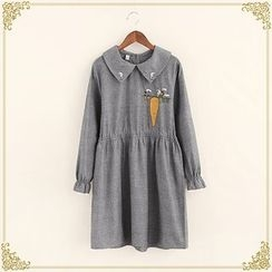 Fairyland - Embroidered Long-Sleeve Collared Dress