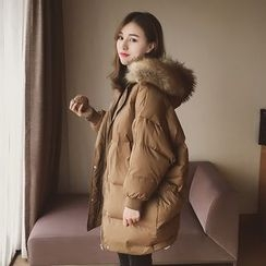 Cocofield - Furry Trim Hooded Long Padded Coat