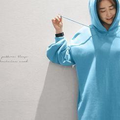 NANING9 - Slit-Side Hooded Long Pullover Dress