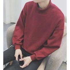 Bestrooy - Plain High Neck Sweatshirt