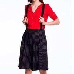 ISOL - Striped Suspender Skirt