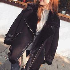 SMA - 抓毛內襯仿麂皮夾克