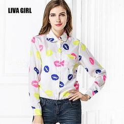 LIVA GIRL - Lip Print Shirt