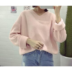 FR - Long Sleeved V-neck Knit Top