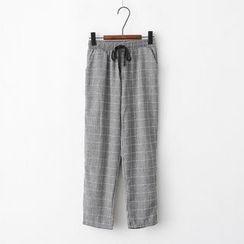 Onyu - Drawstring Check Pants
