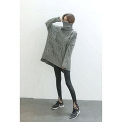 ATTYSTORY - Turtle-Neck Cable-Knit Sweater