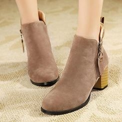Mancienne - Chunky-Heel Zip Ankle Boots