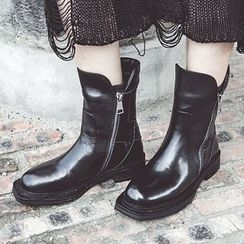 JY Shoes - Genuine Leather Short Boots