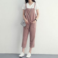 Reis - Pocketed Cropped Corduroy Pinafore Jumpsuit