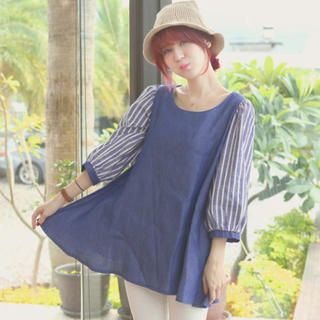Tokyo Fashion - Striped 3/4-Sleeve A-Line Denim Tunic