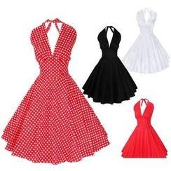 Katemi - Cutout-Back Halter A-Line Dress