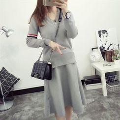 TIMI - Set: Striped V-Neck Sweater + A-Line Skirt