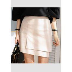 DEEPNY - Asymmetric Wrap-Front Mini Skirt